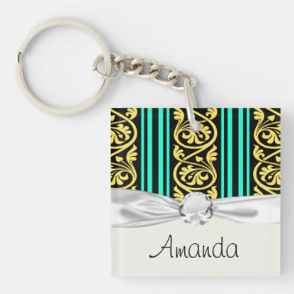 stripes and damask yellow aqua blue Double-Sided square acrylic key ring
