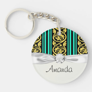 stripes and damask yellow aqua blue Single-Sided round acrylic key ring