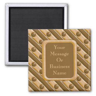 Stripes and Dots - Chocolate Peanut Butter Square Magnet