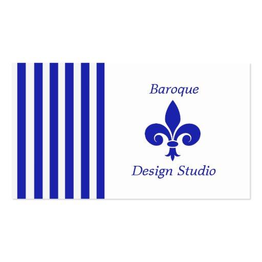 Stripes and Fleur-De-Lis Business Cards