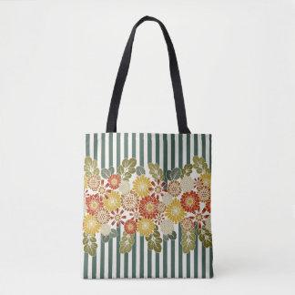 Stripes and Floral Vintage Colors Tote Bag