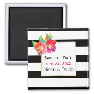 Stripes and flowers wedding Save the Date Magnet