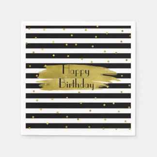 Stripes and Gold Dots Birthday Napkins Disposable Serviettes