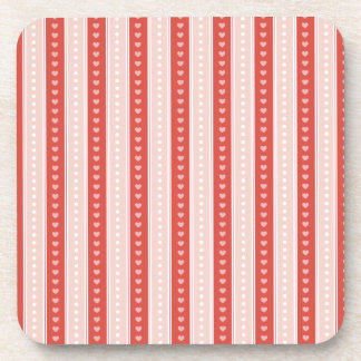Stripes and hearts beverage coasters