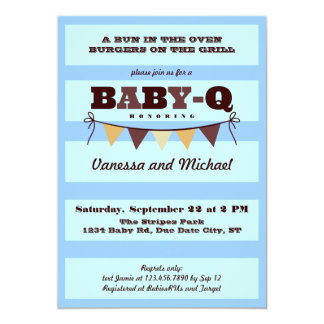 Stripes and Pennant Baby Q Invitation