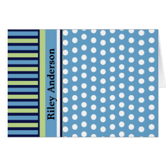 Stripes and Polka Dots Personalized Note Card