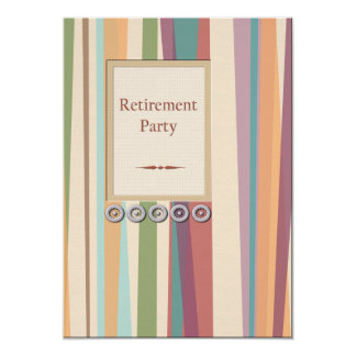 "Stripes and Rivets Retirement 5"" X 7"" Invitation Card"
