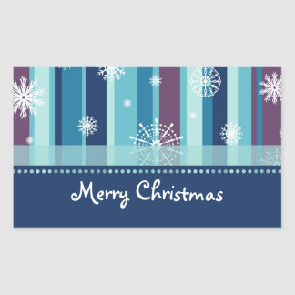 Stripes and Snowflakes Merry Christmas Stickers