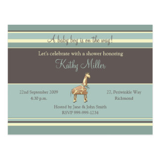 Stripes Baby Shower Invitation (Boy) Postcard