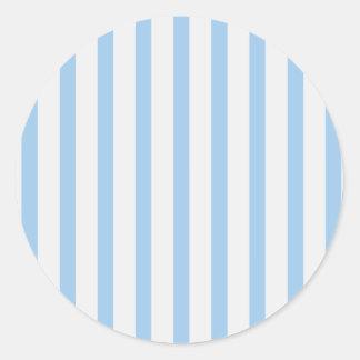 Stripes BabyBlue & White Round Sticker