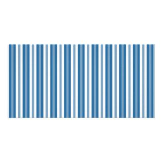 Stripes Background Blue and White Custom Photo Card