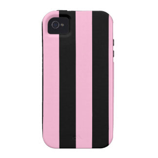 Stripes - Black and Cotton Candy iPhone 4/4S Covers