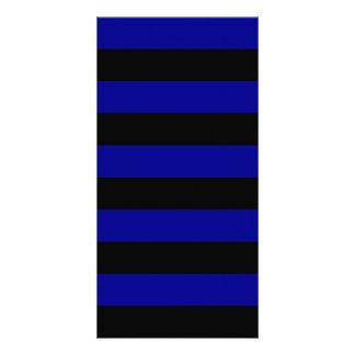 Stripes - Black and Dark Blue Photo Cards