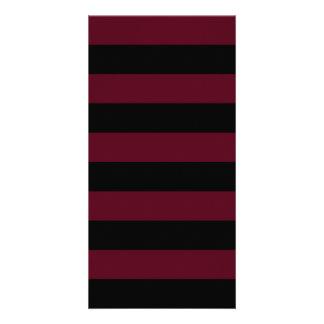 Stripes - Black and Dark Scarlet Photo Card