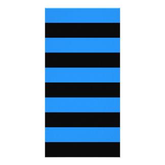 Stripes - Black and Dodger Blue Photo Cards