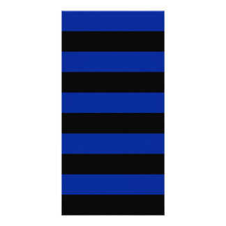 Stripes - Black and Imperial Blue Picture Card