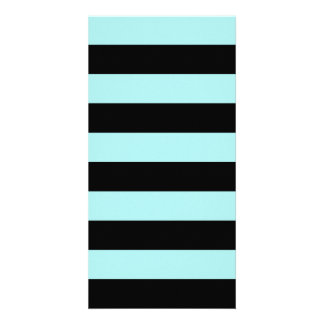 Stripes - Black and Pale Blue Photo Greeting Card