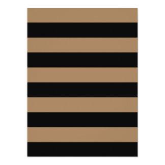 Stripes - Black and Pale Brown 17 Cm X 22 Cm Invitation Card