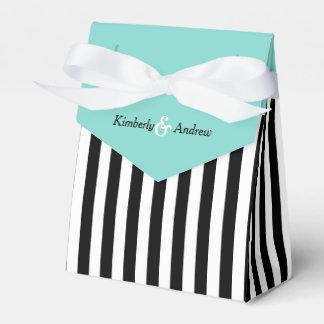 Stripes Black And White Ribbon Blue Wedding Gift Favour Box