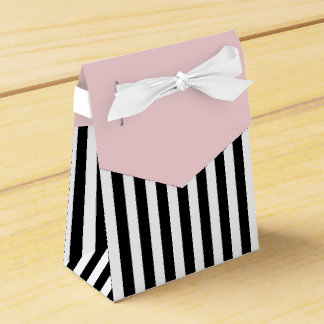 Stripes Black And White Ribbon Pink Wedding Gift Favour Box