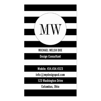 Stripes Black and White with Monogram Initials Business Card Templates
