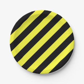 stripes black and yellow 7 inch paper plate