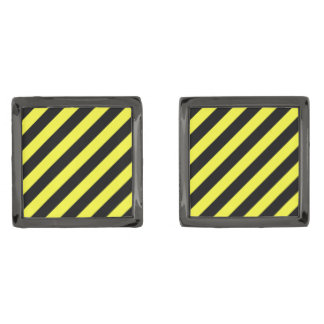 stripes black and yellow gunmetal finish cuff links