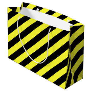 stripes black and yellow large gift bag