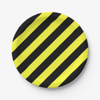 stripes black and yellow paper plate