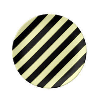 stripes black and yellow plate
