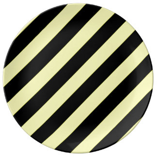 stripes black and yellow porcelain plates