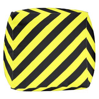 stripes black and yellow pouf