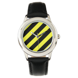 stripes black and yellow watch
