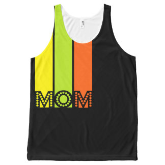 stripes black mom all over printed tank top All-Over print tank top
