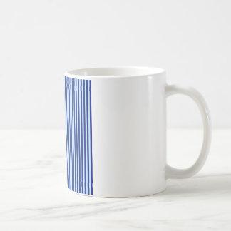 Stripes - Blue 2 - Pale Blue and Navy Blue Basic White Mug