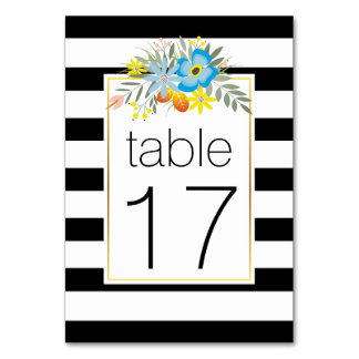 Stripes blue folklore flowers wedding table number table card