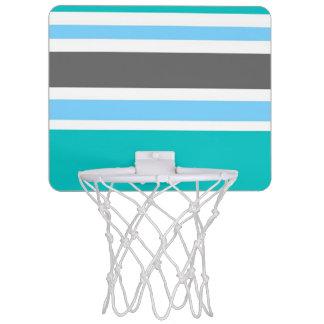 Stripes Blue Green Teal Grey Mini Basketball Hoop