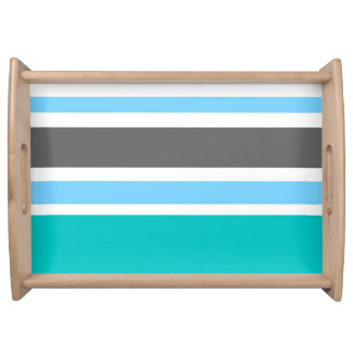 Stripes Blue Green Teal Grey Serving Tray