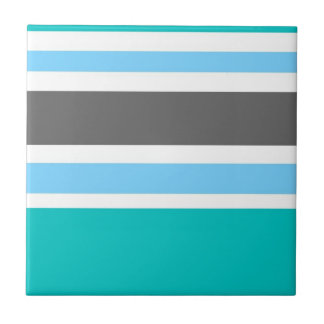 Stripes Blue Green Teal Grey Small Square Tile