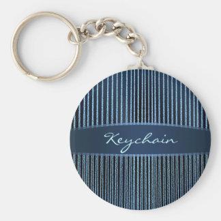 Stripes - blue Sparkles & Glitter Basic Round Button Key Ring