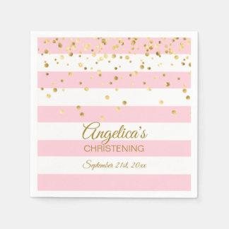 Stripes Blush Pink Rose Gold CHRISTENING BAPTISM Disposable Napkin