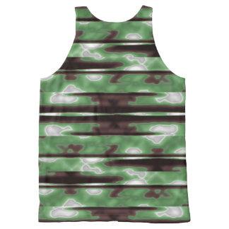 Stripes Camo Pattern Print All-Over Print Singlet