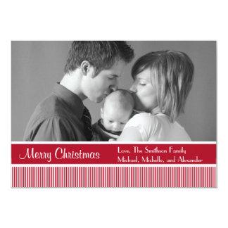 "Stripes Christmas Cards (Burgandy) 5"" X 7"" Invitation Card"