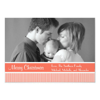 "Stripes Christmas Cards (Coral) 5"" X 7"" Invitation Card"