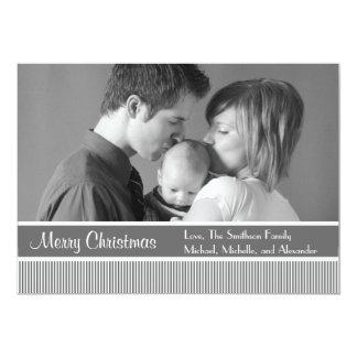 "Stripes Christmas Cards (Gray) 5"" X 7"" Invitation Card"