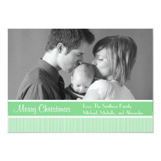 "Stripes Christmas Cards (Mint Green) 5"" X 7"" Invitation Card"