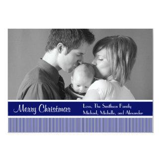 "Stripes Christmas Cards (Navy Blue) 5"" X 7"" Invitation Card"