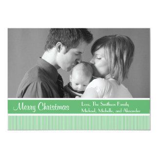 "Stripes Christmas Cards (Sage Green) 5"" X 7"" Invitation Card"