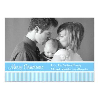 "Stripes Christmas Cards (Sky Blue) 5"" X 7"" Invitation Card"