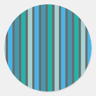 Stripes Cool Tone Round Sticker